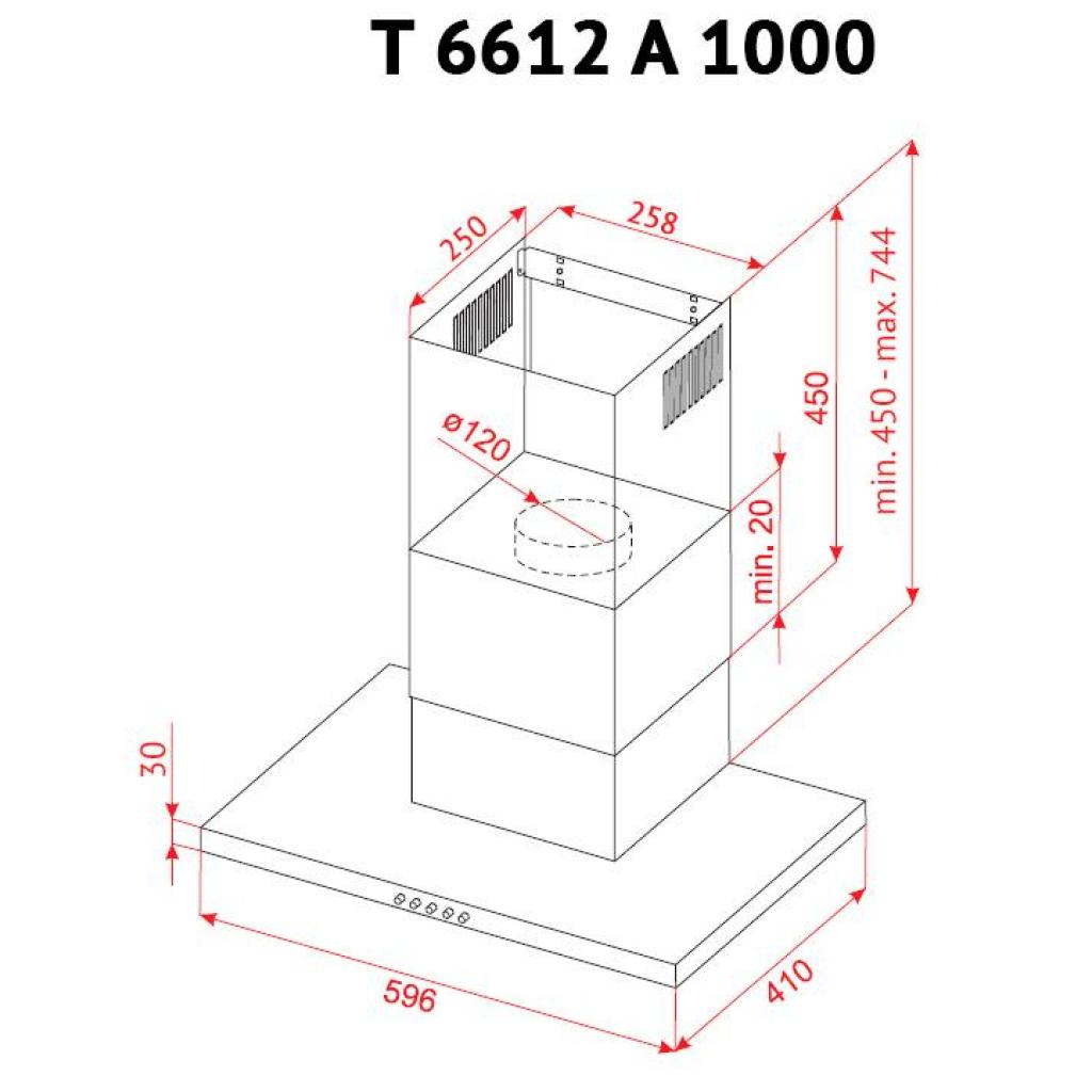 Вытяжка кухонная PERFELLI T 6612 A 1000 BL LED изображение 10