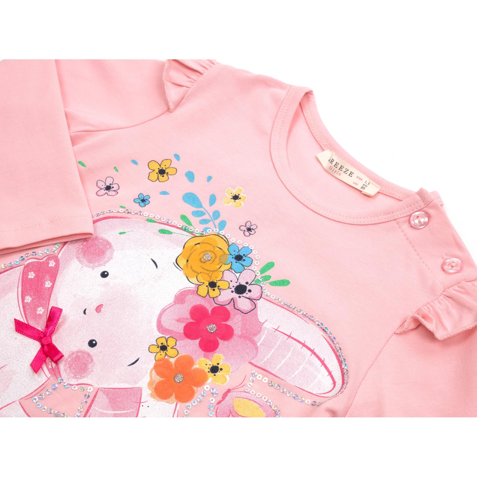 Набор детской одежды Breeze с зайчиком в цветах (13299-92G-pink) изображение 7