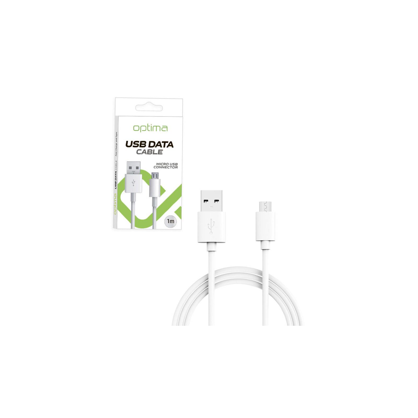 Дата кабель USB 2.0 AM to Micro 5P 1.0m White Optima (40144)
