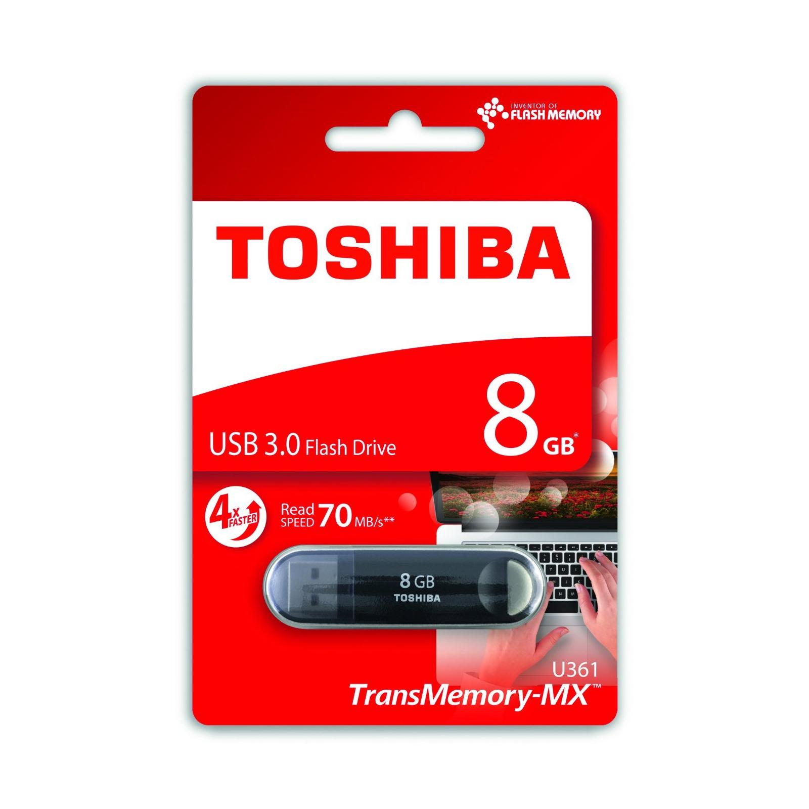 USB флеш накопитель Toshiba 8GB Suzaku Black USB 3.0 (THN-U361K0080M4) изображение 2