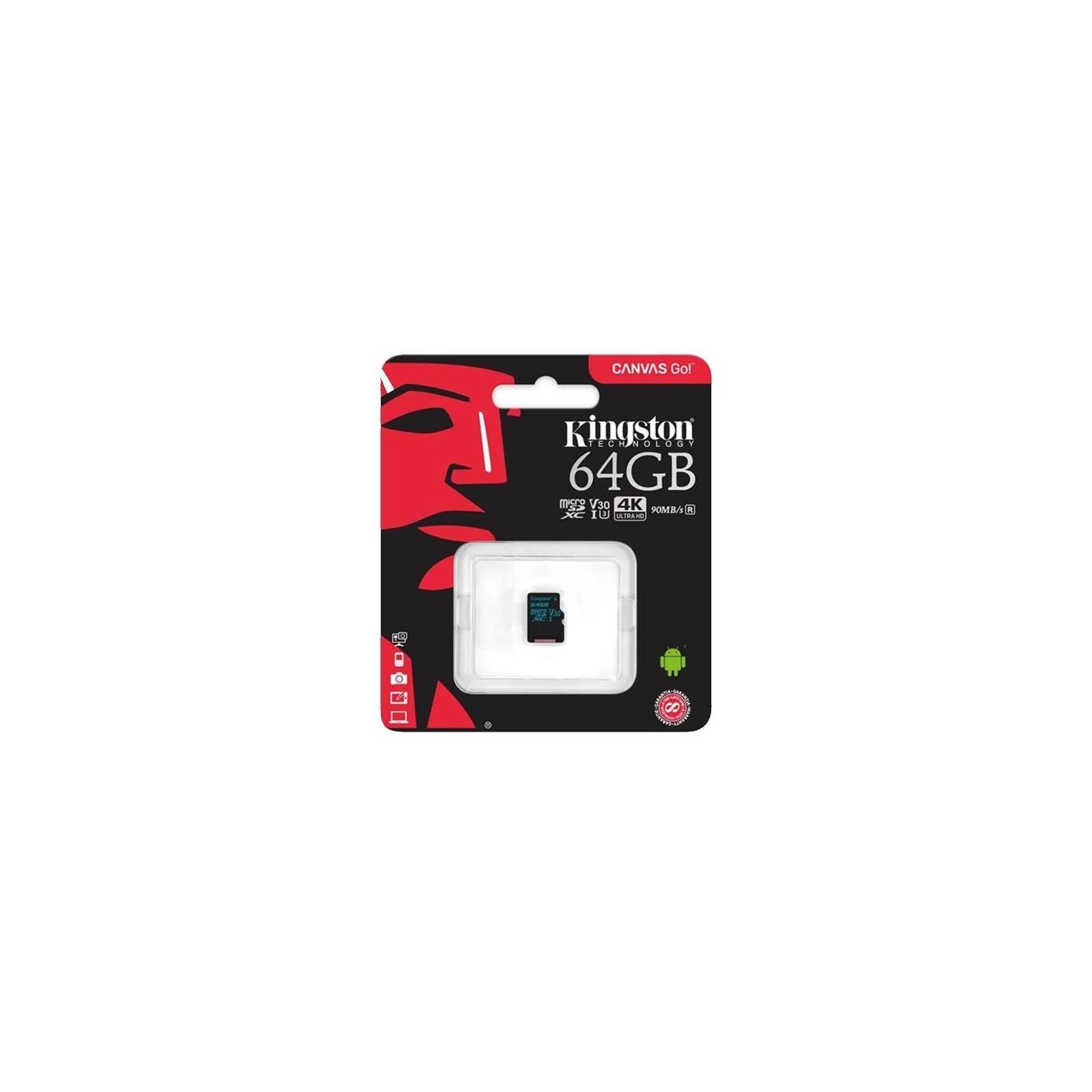 Карта памяти Kingston 64GB microSDXC class 10 UHS-I U3 Canvas Go (SDCG2/64GBSP) изображение 2