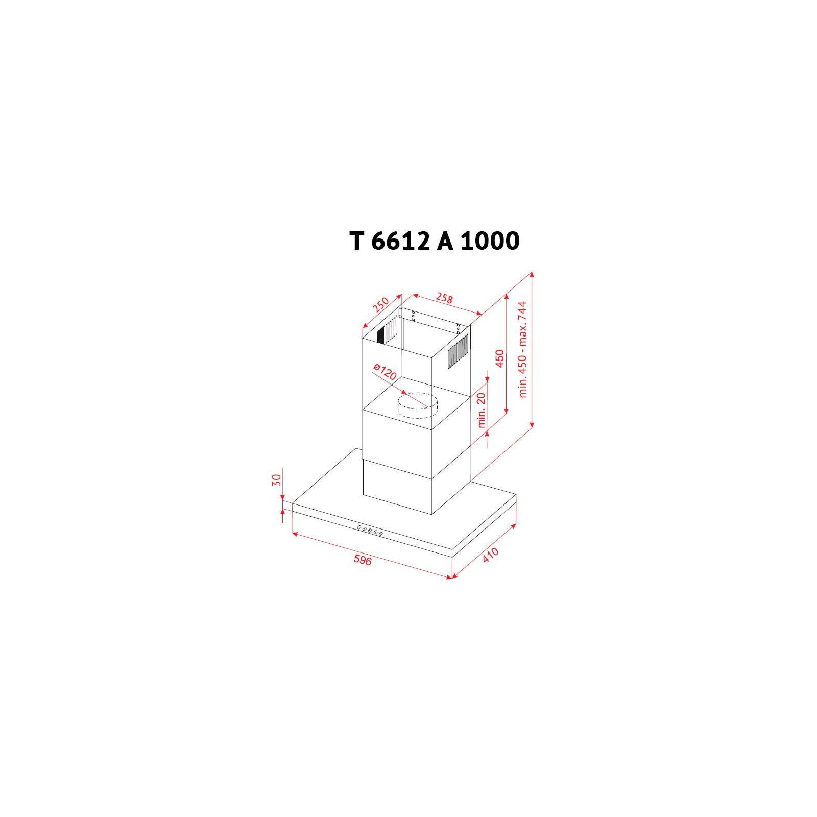Вытяжка кухонная PERFELLI T 6612 A 1000 IV LED изображение 10
