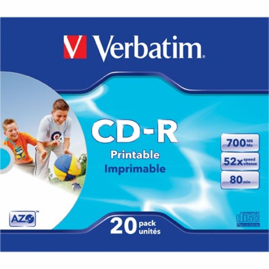 Диск CD Verbatim 700Mb 52x SlimCase.Extra.Printable (43424)