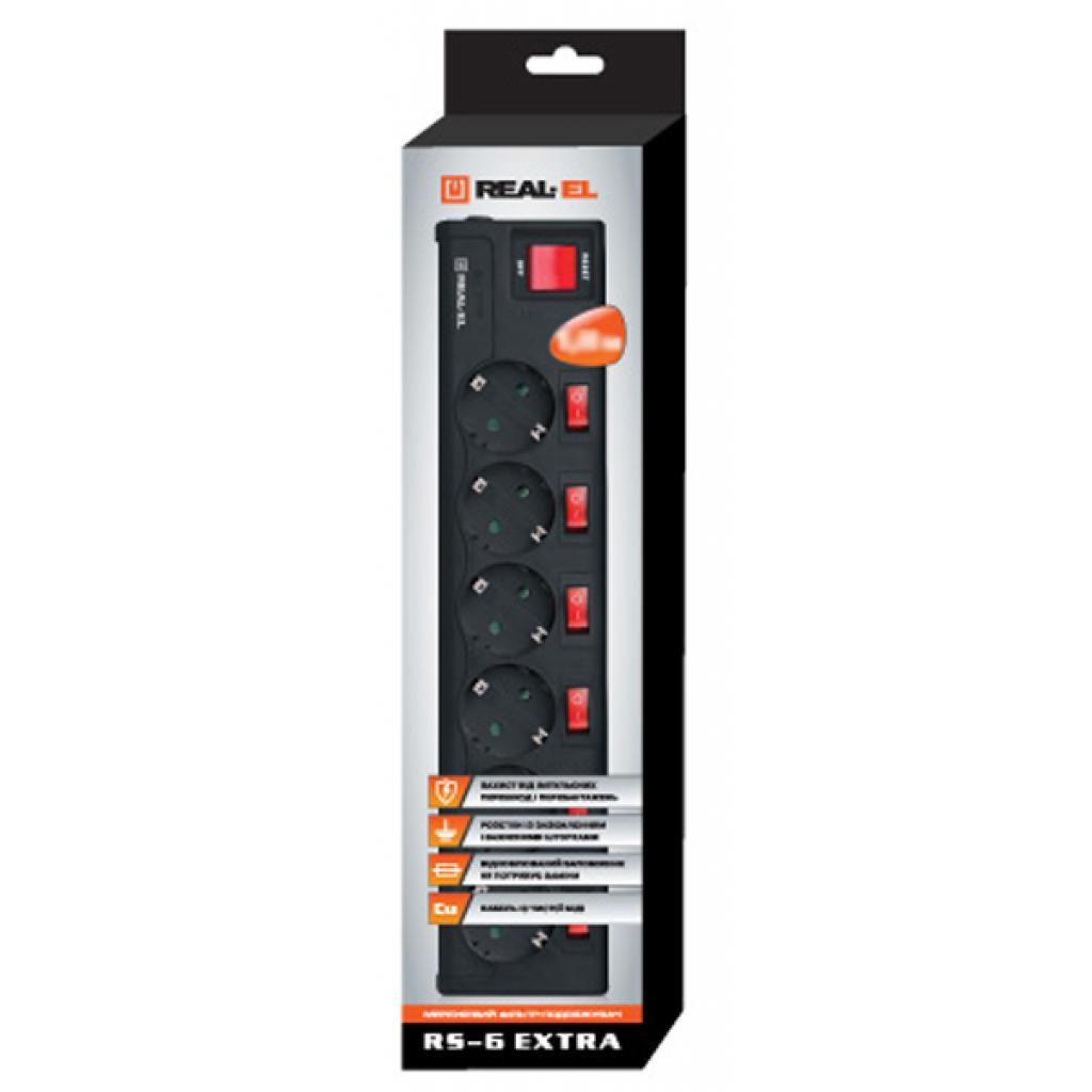 Сетевой фильтр питания REAL-EL RS-6 EXTRA 3m, black (EL122300002) изображение 2