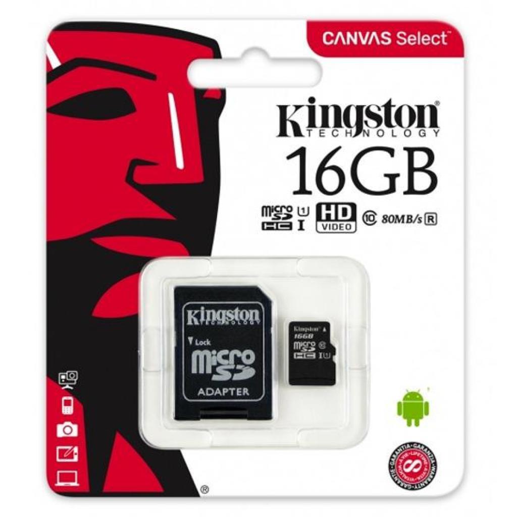 Карта памяти Kingston 16GB microSDHC class 10 UHS-I Canvas Select (SDCS/16GB) изображение 3