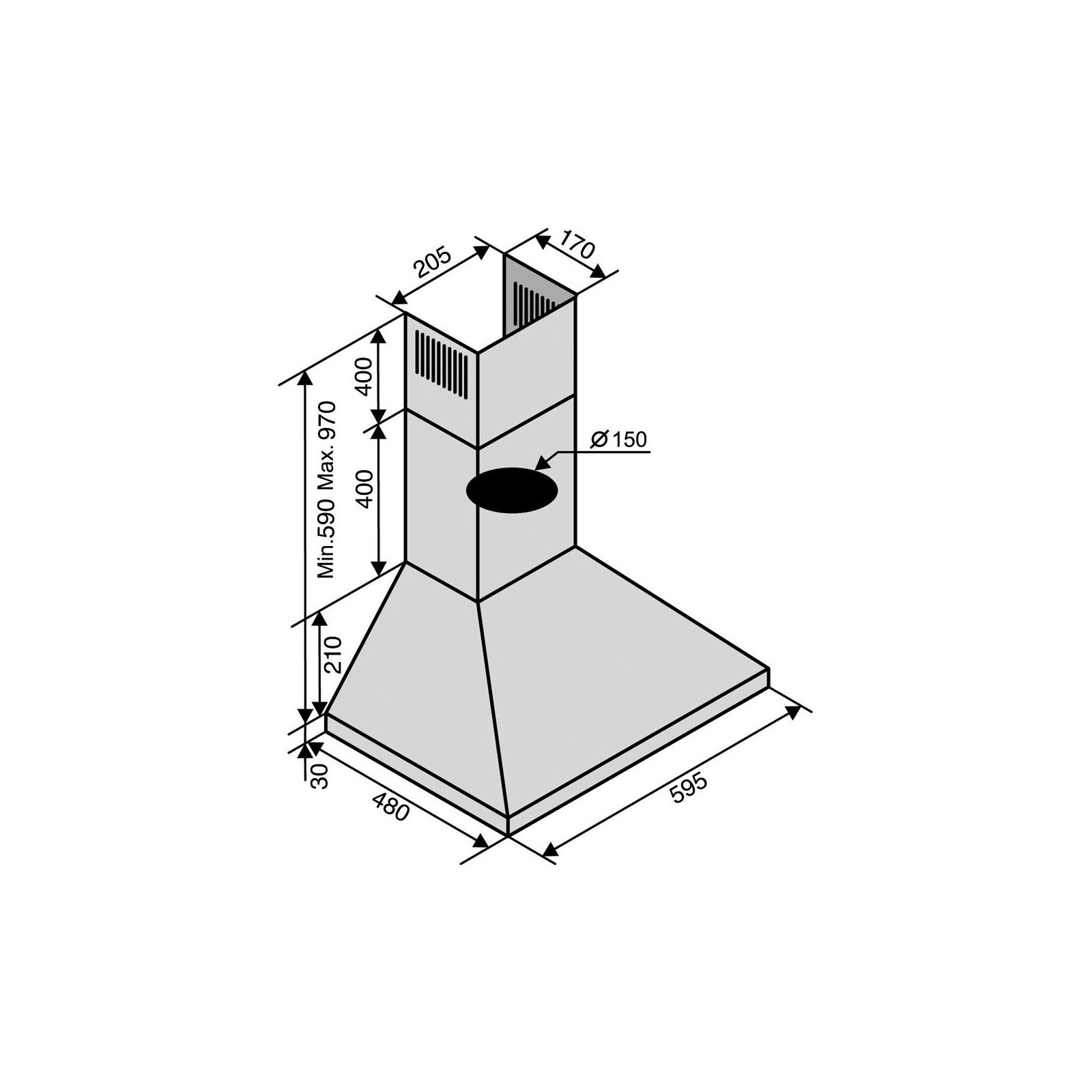 Вытяжка кухонная Ventolux MILANO 60 INOX (1000) PB изображение 6