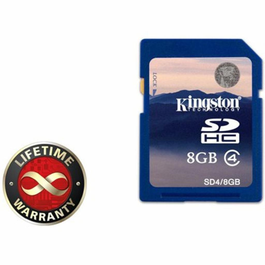 Карта памяти 8Gb SDHC class 4 Kingston (SD4/8GB)