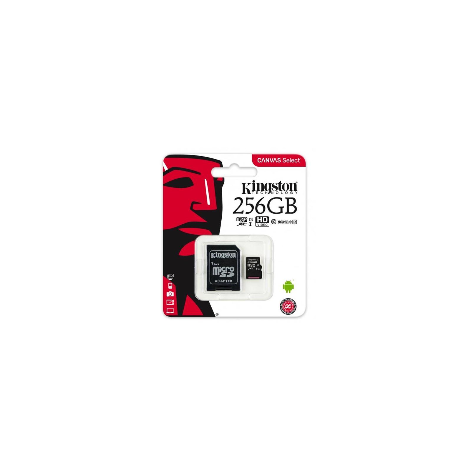 Карта памяти Kingston 256GB microSDXC class 10 UHS-I Canvas Select (SDCS/256GB) изображение 3