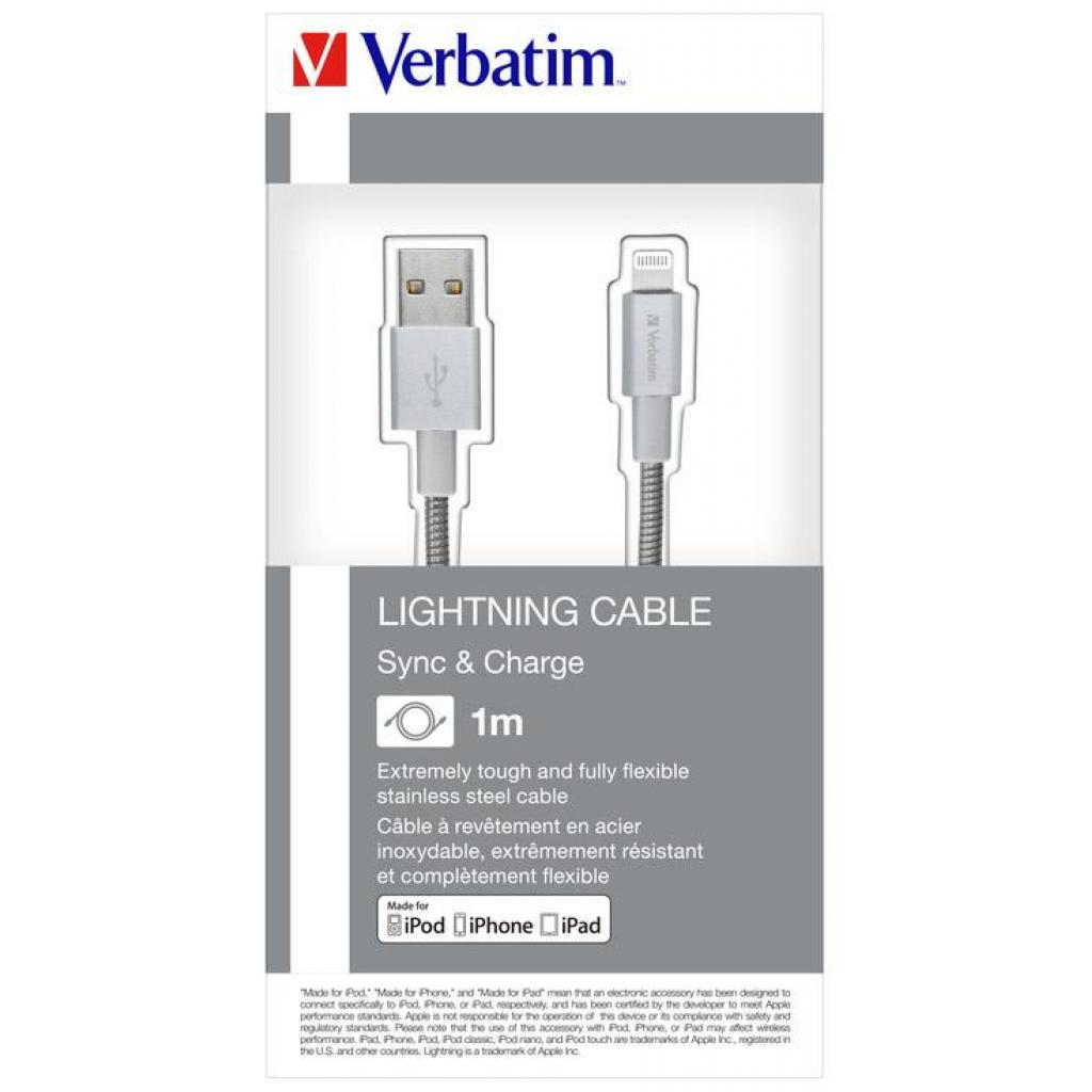 Дата кабель USB 2.0 AM to Lightning 1.0m silver Verbatim (48859) изображение 4