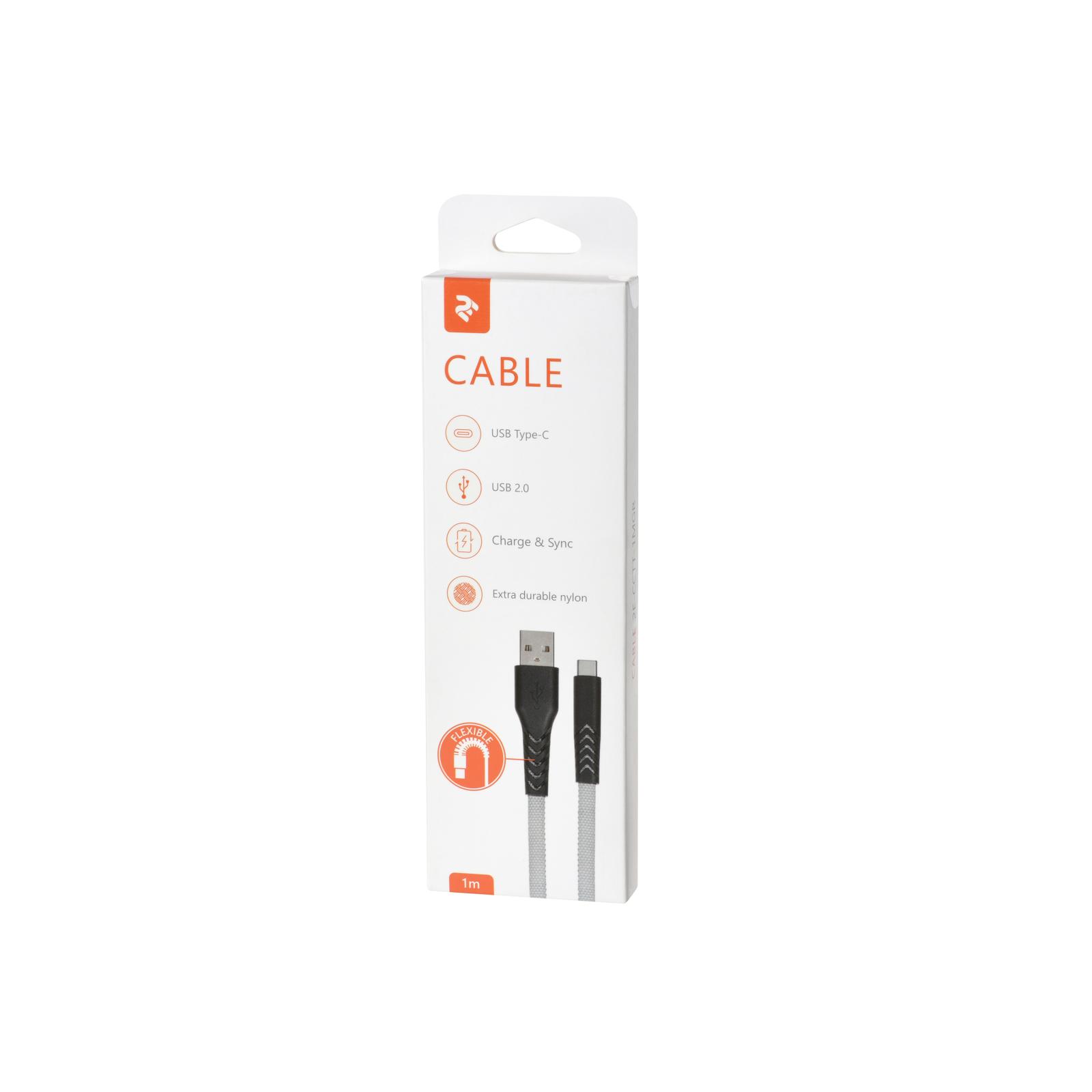 Дата кабель USB 2.0 AM to Type-C 1.0m Flat fabric urban, black/blue 2E (2E-CCTT-1MBL) изображение 4