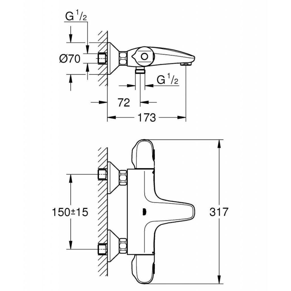 Термостатический смеситель Grohe GRT 1000 (34155003) изображение 5