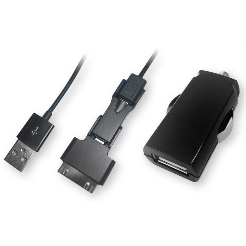Зарядное устройство GLOBAL с кабелем TRIO iPhone/micro USB/mini USB (1283126445798)
