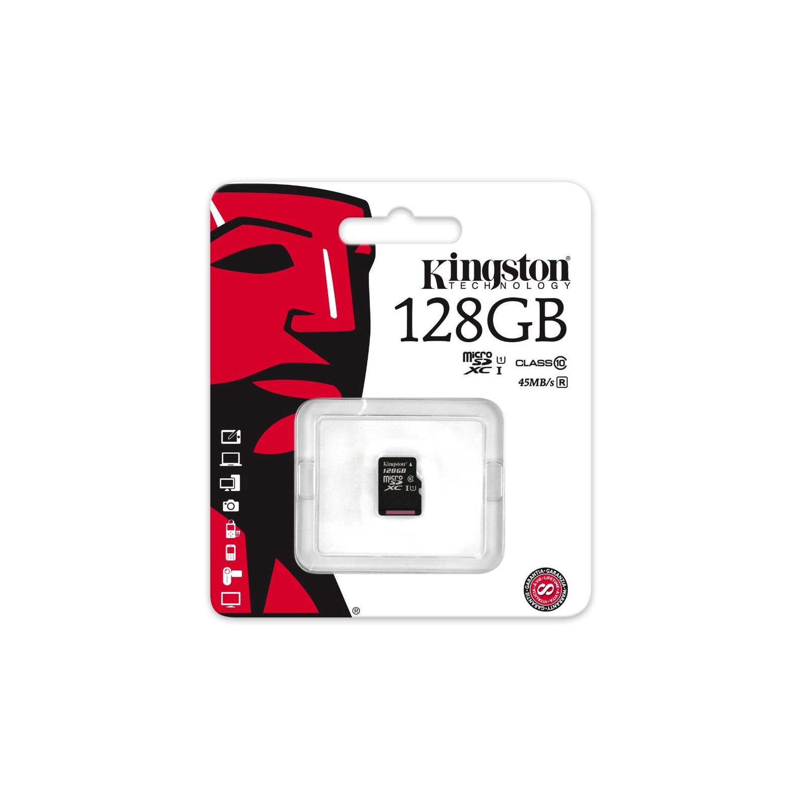 Карта памяти Kingston 128GB microSDXC Class 10 UHS| (SDC10G2/128GBSP) изображение 2