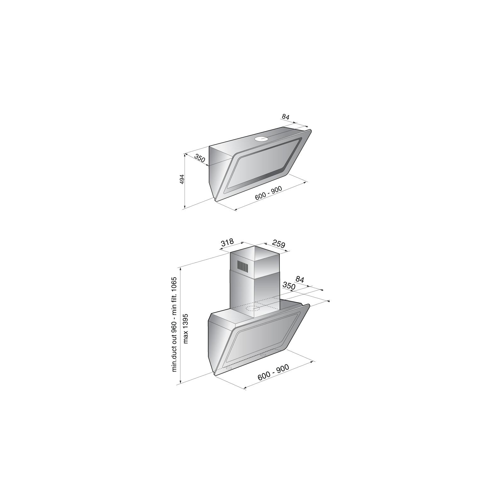 Вытяжка кухонная Zirtal ONYX 90 WH изображение 2