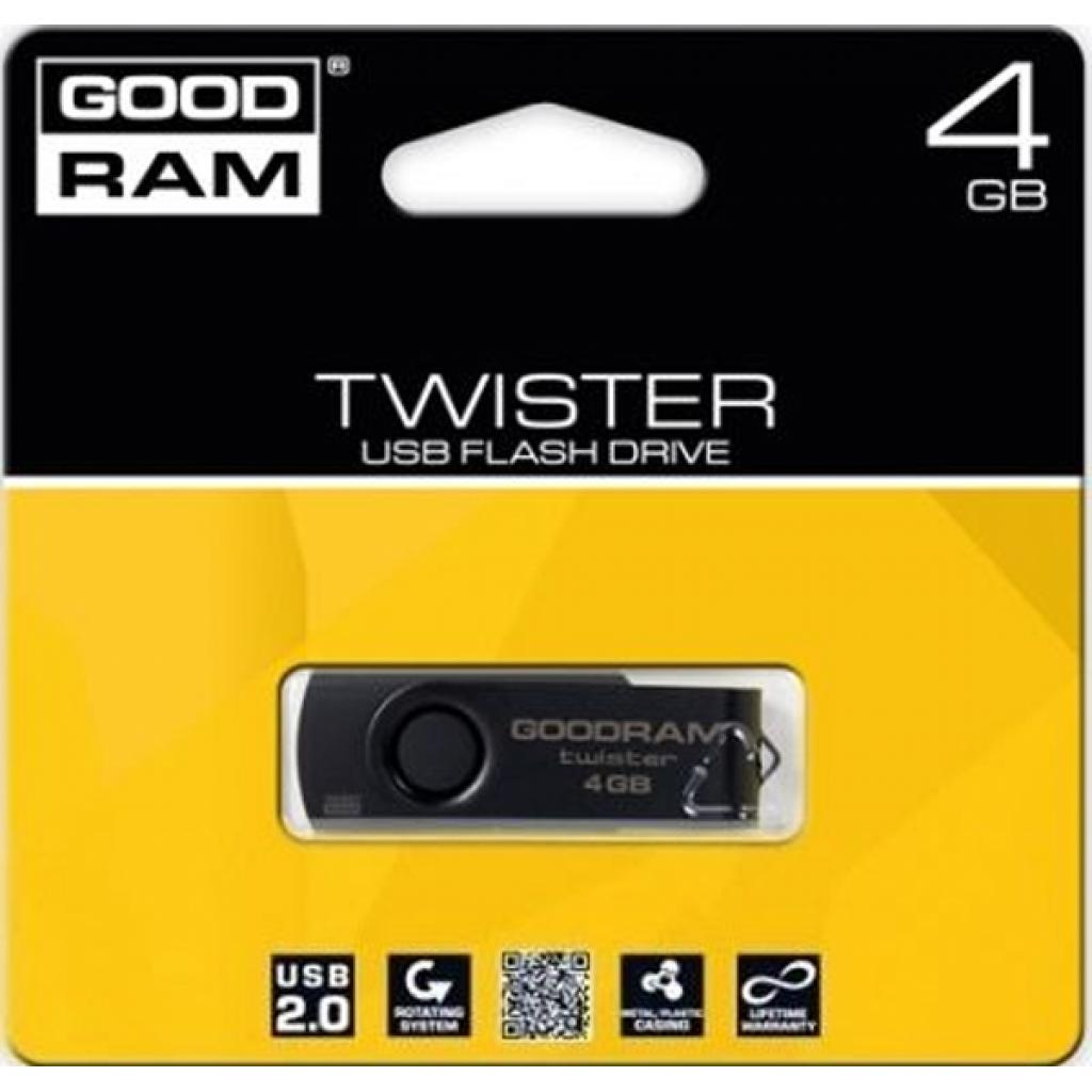 USB флеш накопитель GOODRAM 4GB TWISTER Black clip USB 2.0 (UTS2-0040KKR11) изображение 2