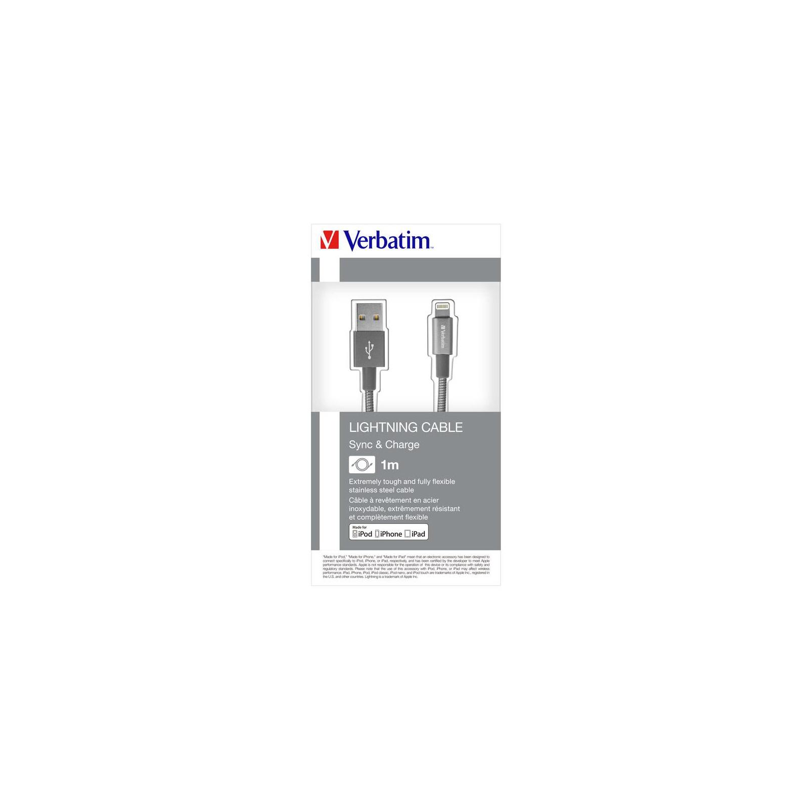 Дата кабель USB 2.0 AM to Lightning 1.0m grey Verbatim (48860) изображение 5