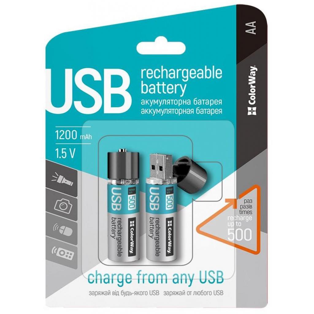 Аккумулятор ColorWay AA USB 1200 mAh 1.5V R6 * 2 (CW-UBAA-02) изображение 2