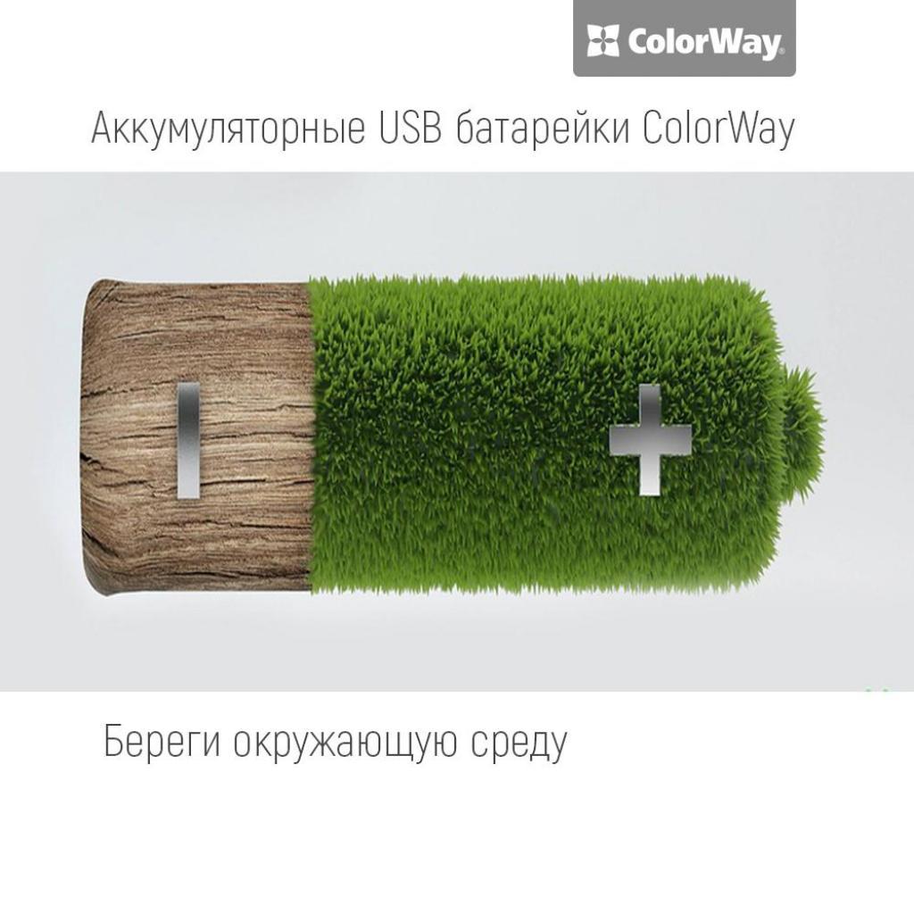 Аккумулятор ColorWay AA USB 1200 mAh 1.5V R6 * 2 (CW-UBAA-02) изображение 3