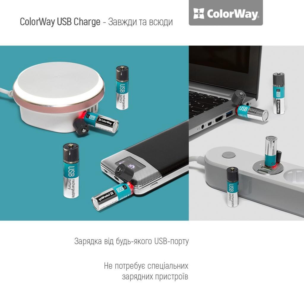 Аккумулятор ColorWay AA USB 1200 mAh 1.5V R6 * 2 (CW-UBAA-02) изображение 5
