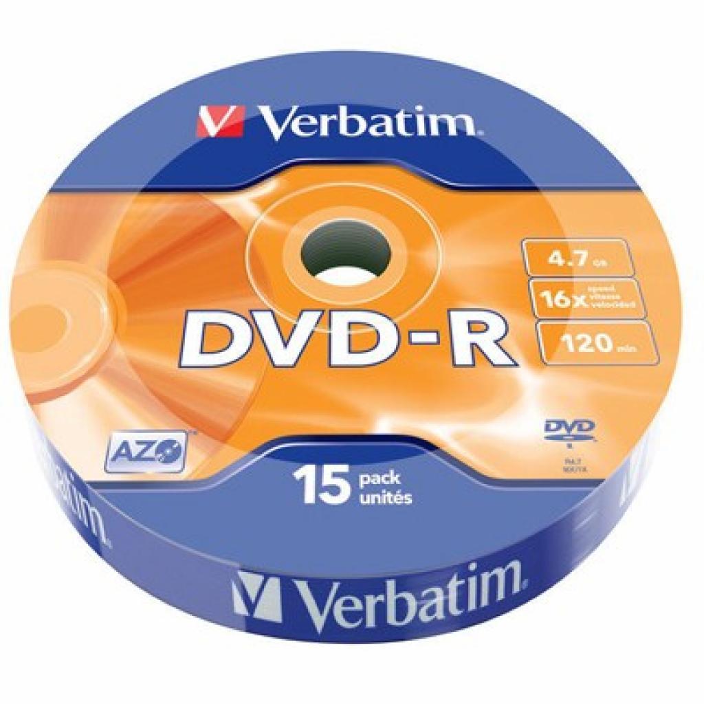 Диск DVD Verbatim 4.7Gb 16X Wrap-box 15шт MATT SILVER (43785)