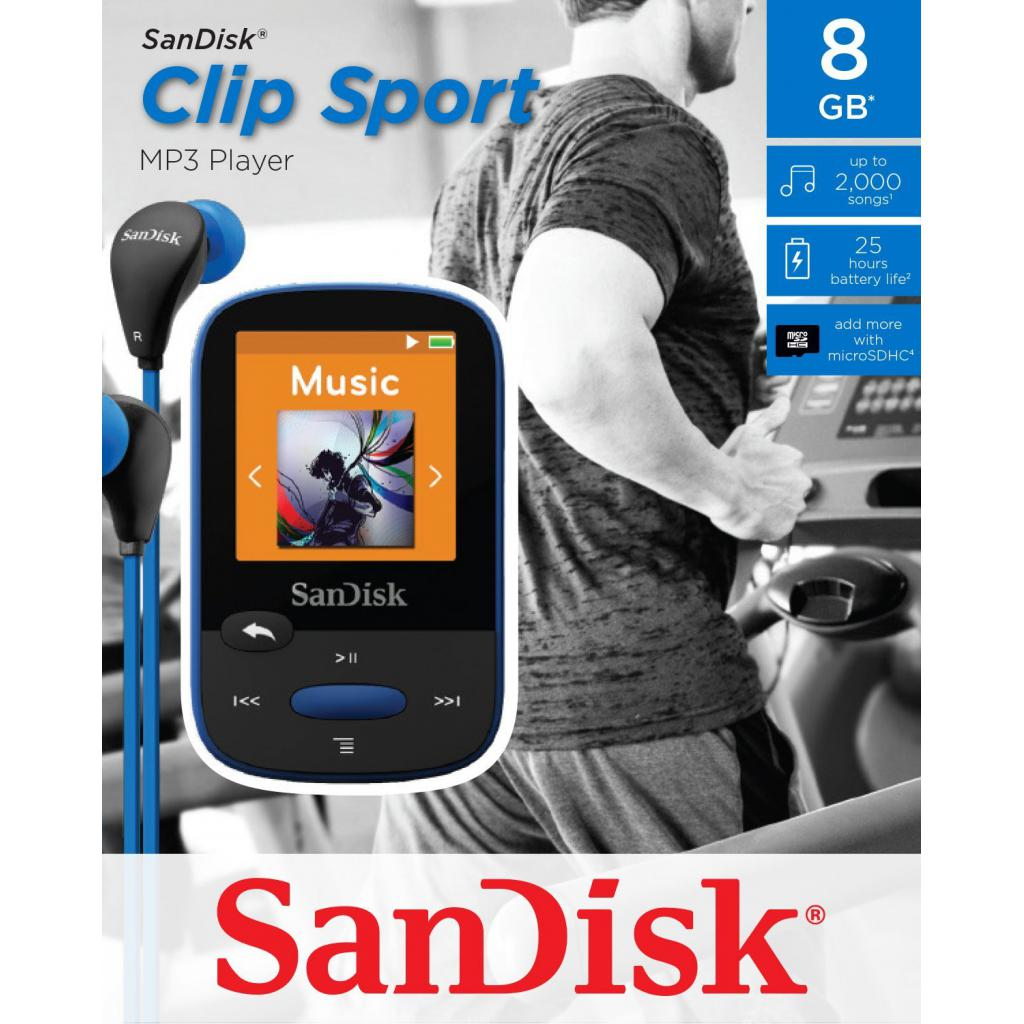 mp3 плеер SANDISK Sansa Clip Sport 8GB Blue (SDMX24-008G-G46B) изображение 5