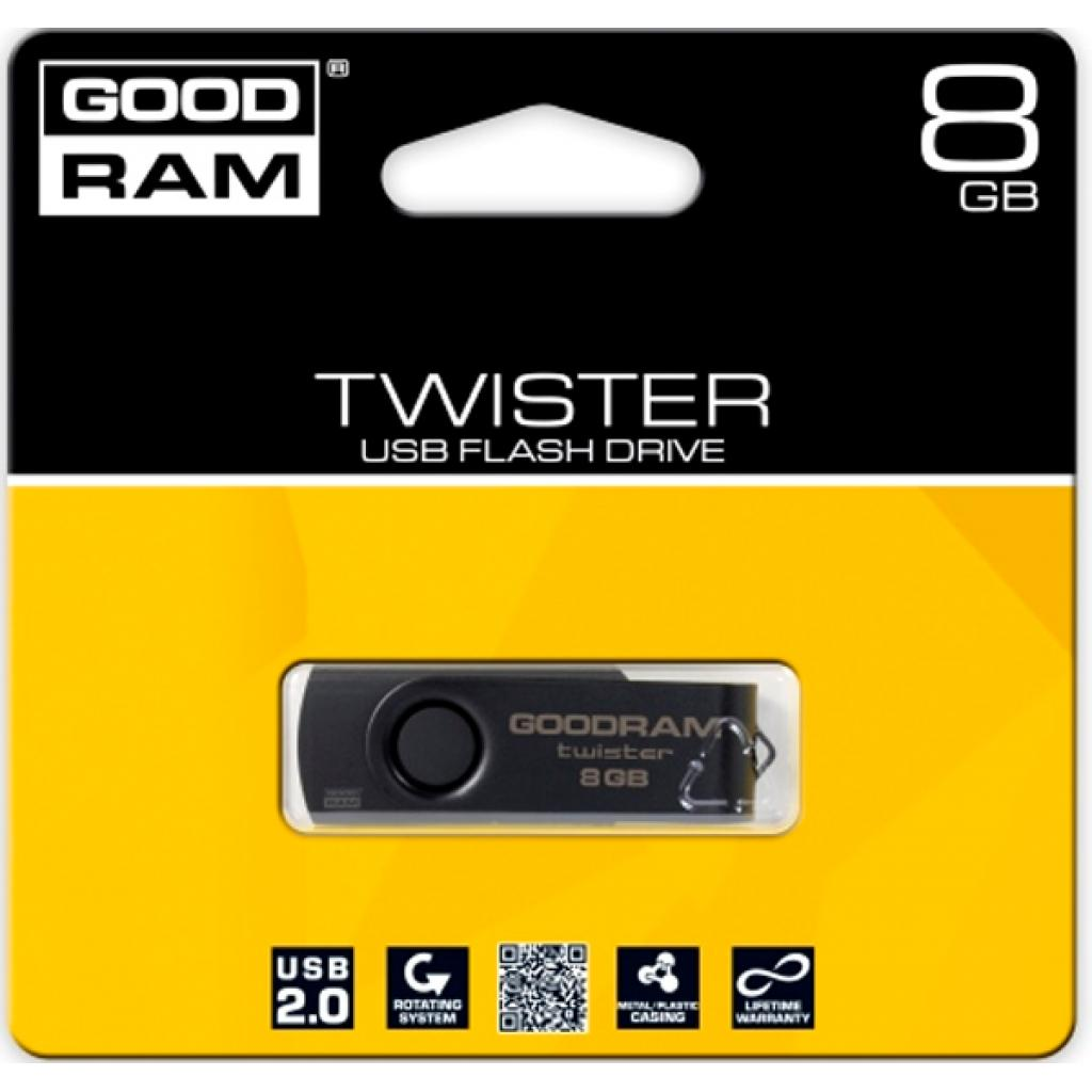USB флеш накопитель GOODRAM 8GB TWISTER Black clip USB 2.0 (UTS2-0080KKR11) изображение 2