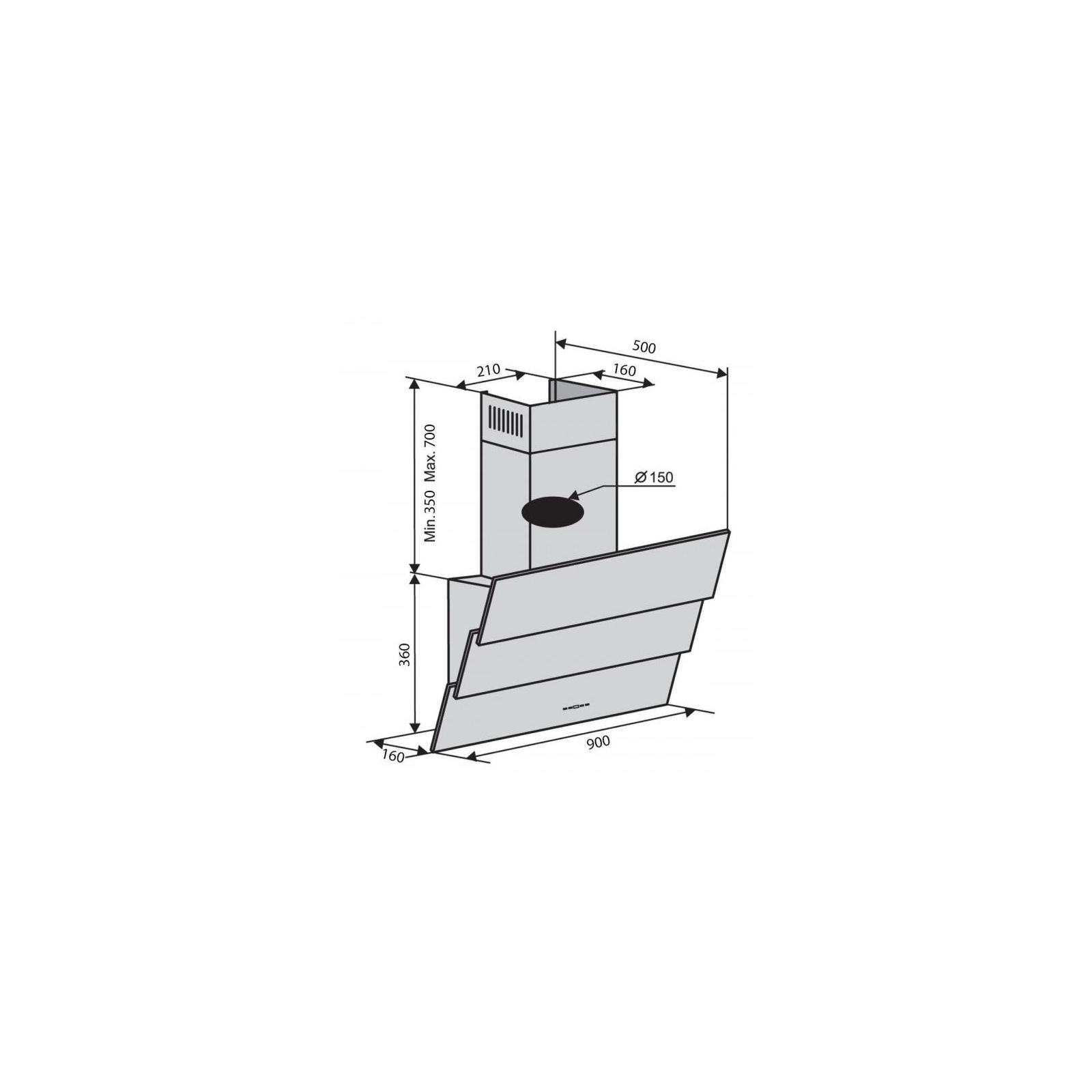 Вытяжка кухонная Ventolux RIALTO 90 BK (1000) TRC IT изображение 6