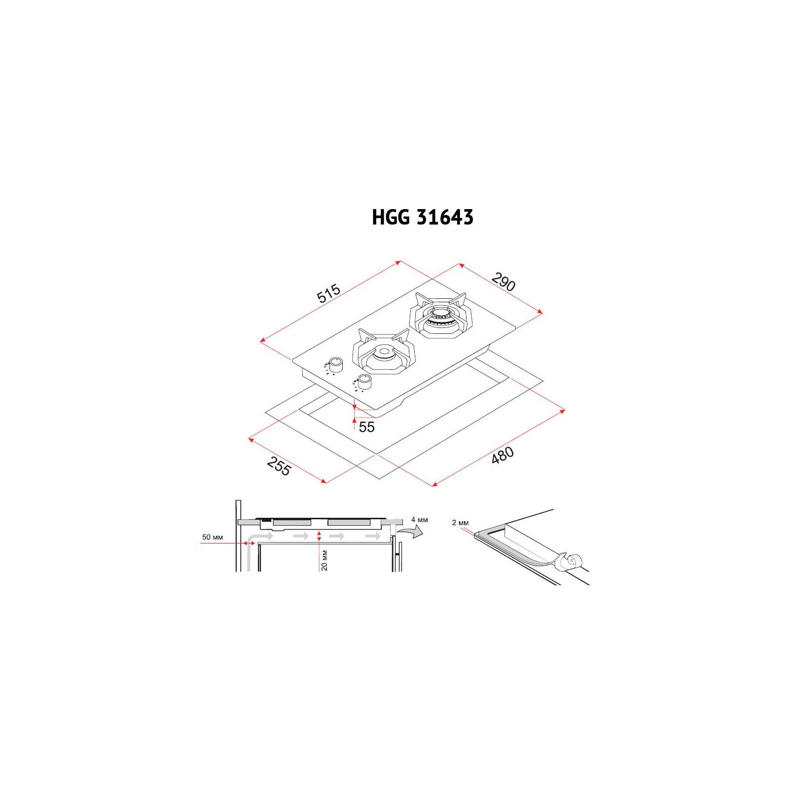 Варочная поверхность PERFELLI HGG 31643 WH изображение 8