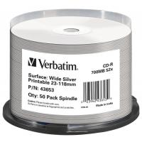 Диск CD Verbatim 700Mb 52x Cake box Printable Silver 50шт (43653)
