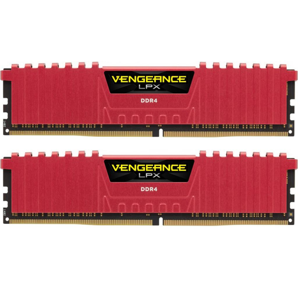 Модуль памяти для компьютера DDR4 16GB (2x8GB) 2400 MHz Vengeance LPX Red CORSAIR (CMK16GX4M2A2400C14R)