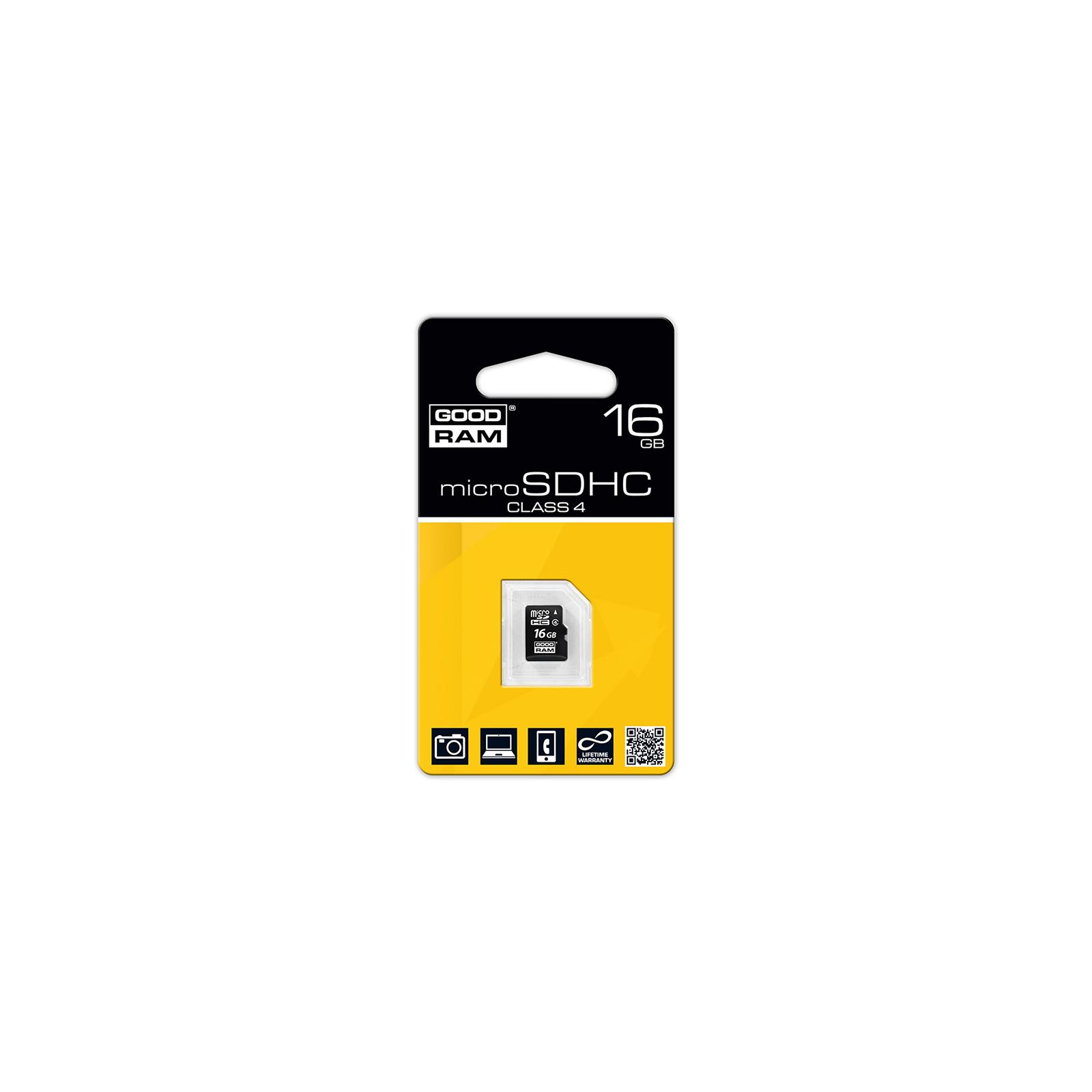 Карта памяти GOODRAM 16GB microSDHC Class 4 (SDU16GHCGRR10) изображение 2