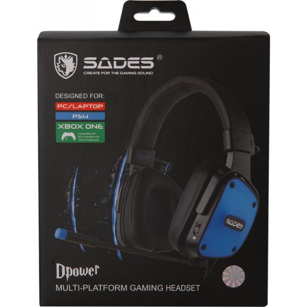 Наушники SADES Dpower Black/Blue (SA722-B-BL) изображение 9