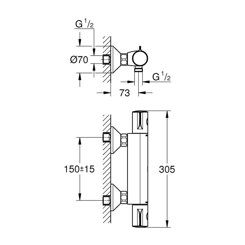 Термостатический смеситель Grohe GRT 800 (34558000) изображение 2