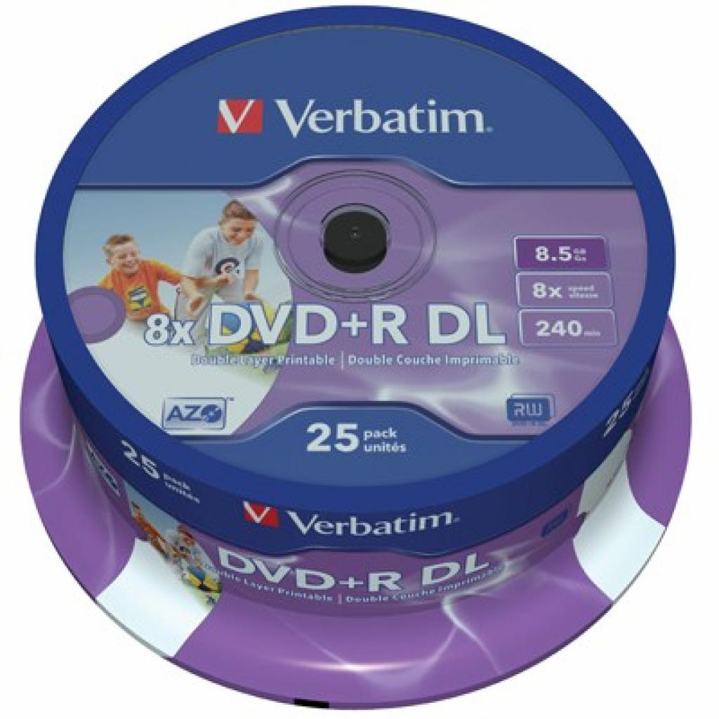 Диск DVD+R Verbatim 8.5Gb 8X CakeBox 25шт Printable (43667)
