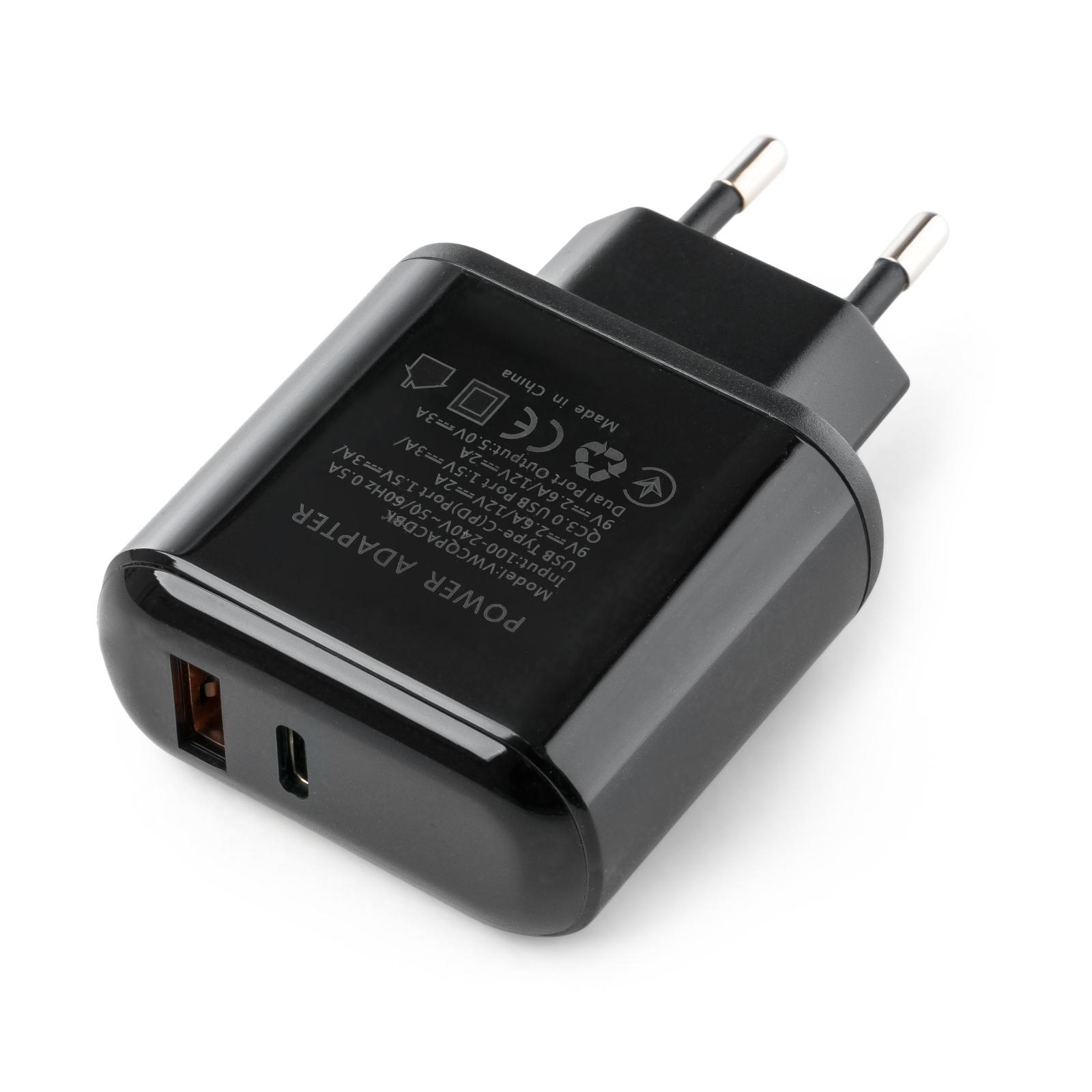 Зарядное устройство Vinga 2 Port QC3.0+PD Display Wall Charger (VWCQPACDBK) изображение 2