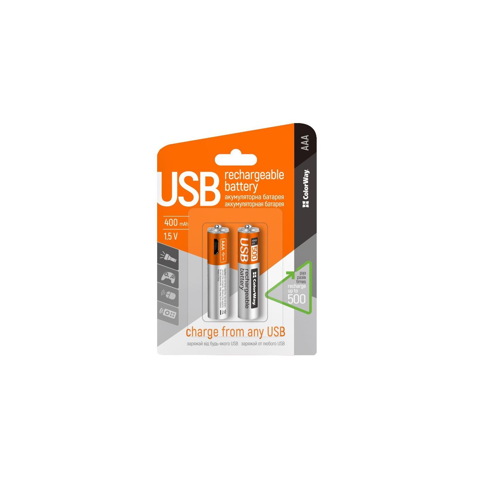 Аккумулятор ColorWay AAA micro USB 400 mAh * 2 (CW-UBAAA-01) изображение 2