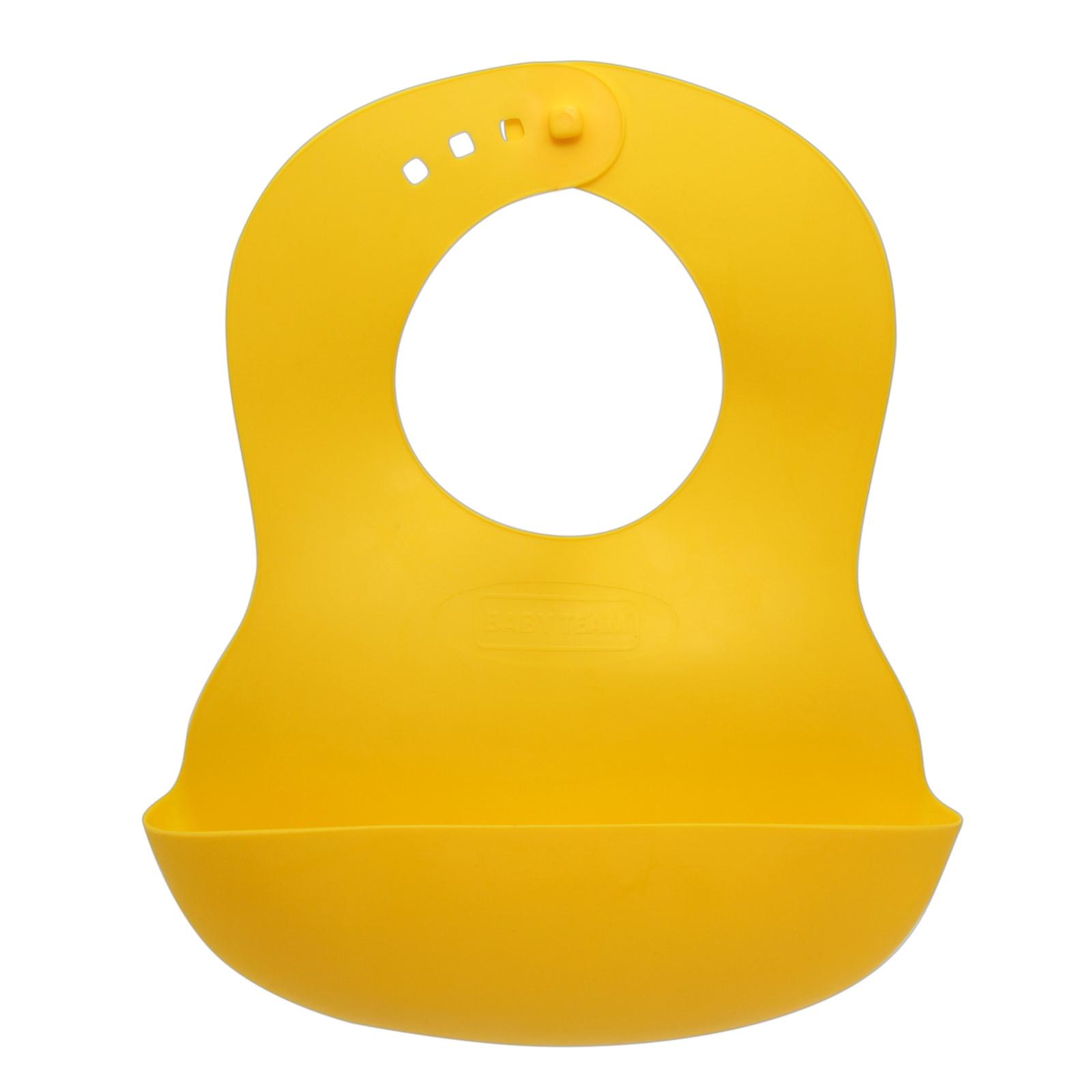 Нагрудничек Baby Team резиновый (6500_желтый)