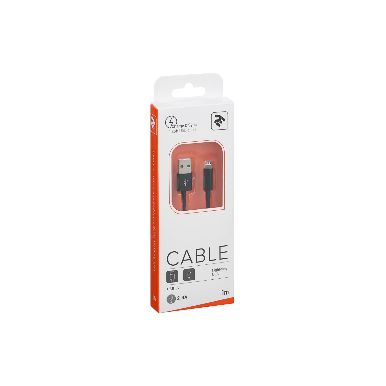 Дата кабель USB 2.0 AM to Lightning 1.0m 2.4A black 2E (2E-CCLAB-BL) изображение 3