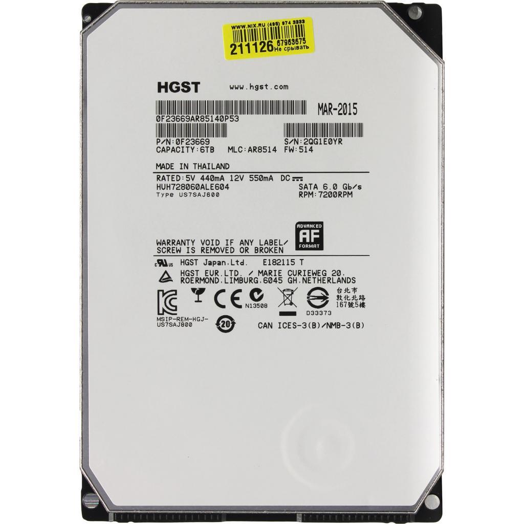"""Жесткий диск 3.5"""" 6TB Hitachi HGST (0F23669 / HUH728060ALE604)"""
