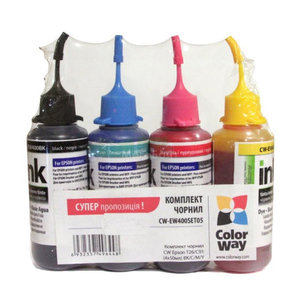 Чернила ColorWay Epson SC 67/87/79/91/T26 (4х50мл) BK/С/M/Y (CW-EW400SET05)