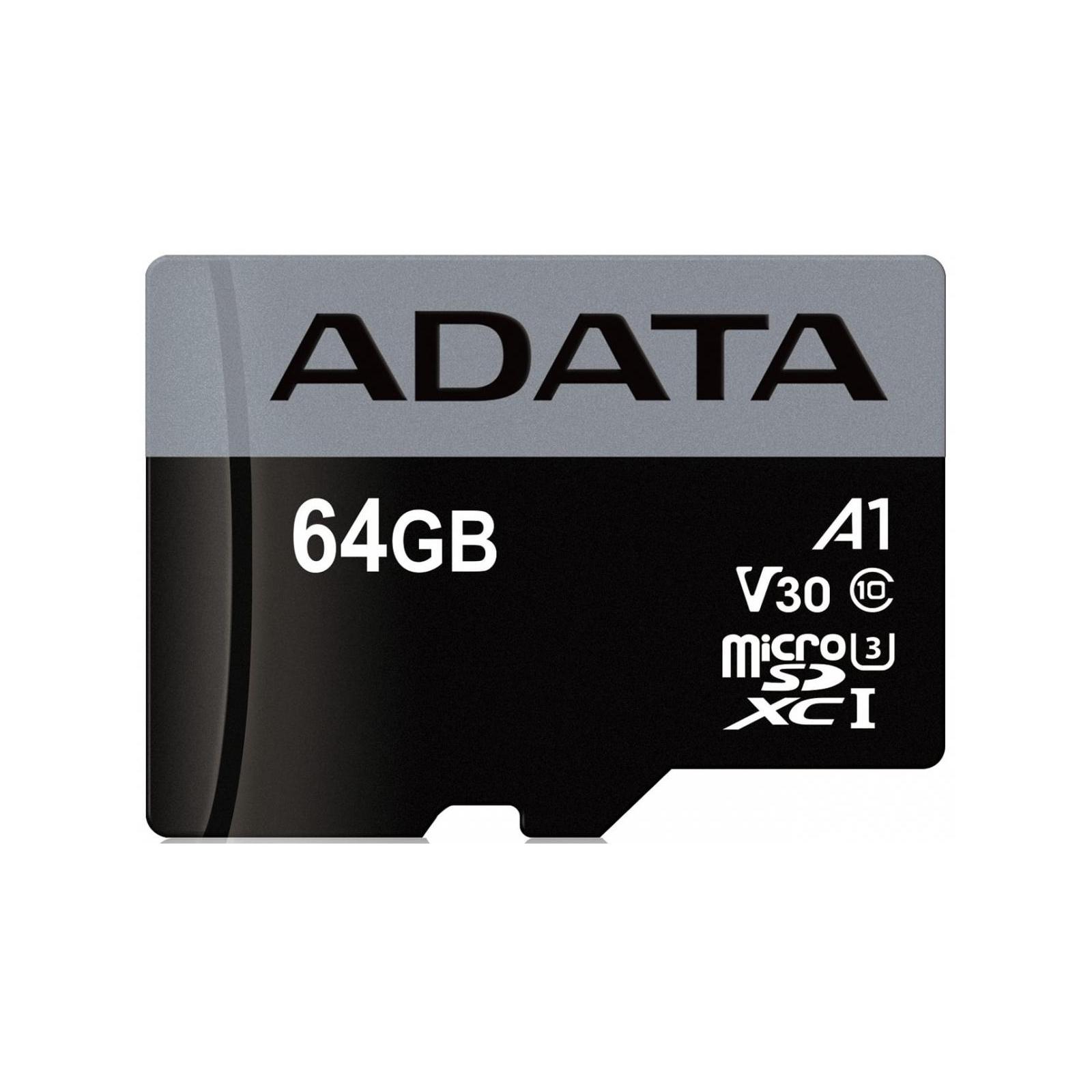 Карта памяти ADATA 64GB microSD class 10 UHS-I U3 A1 Premier Pro (AUSDX64GUI3V30SA1-RA1) изображение 2
