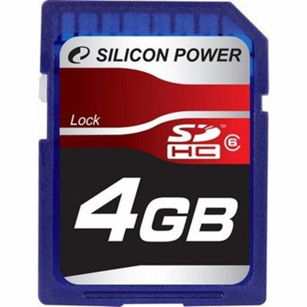 Карта памяти 4Gb SDHC class 6 Silicon Power (SP004GBSDH006V10)