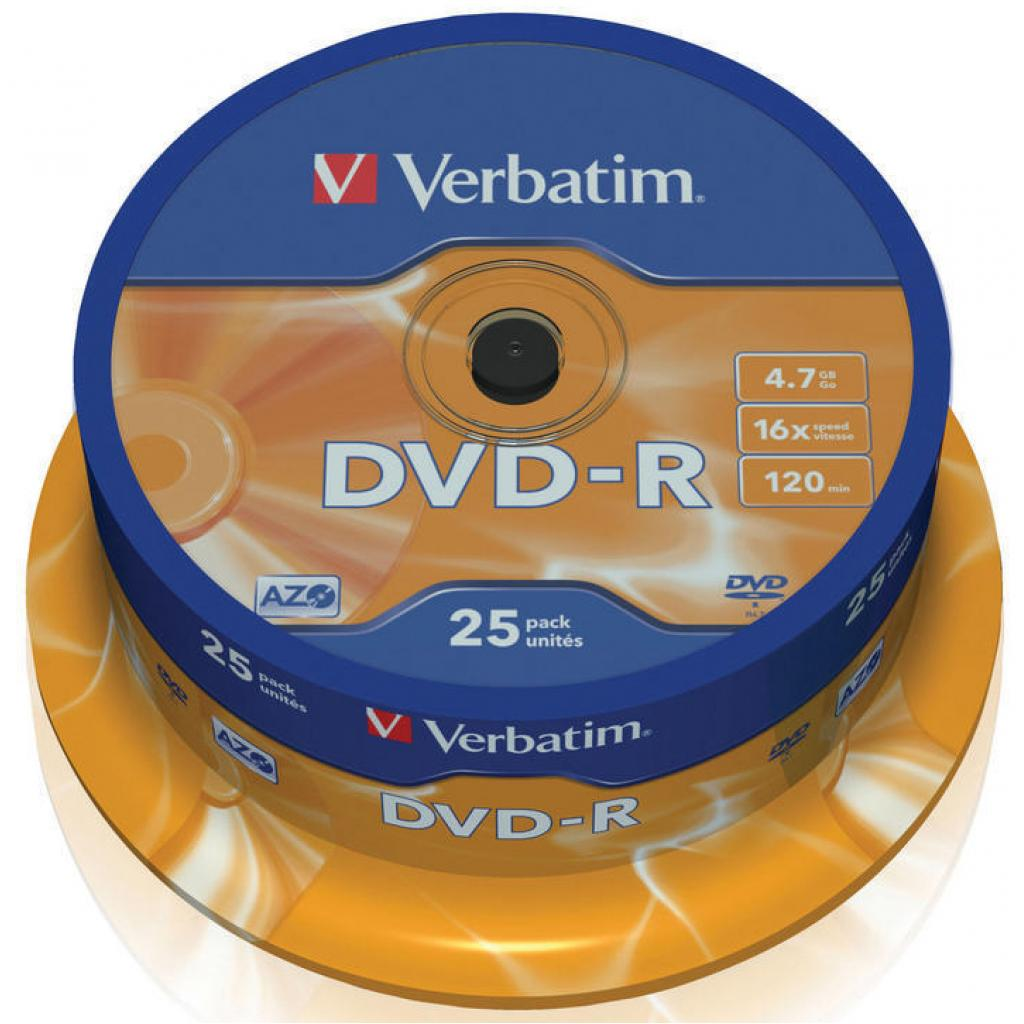 Диск DVD Verbatim 4.7Gb 16X CakeBox 25шт (43522)