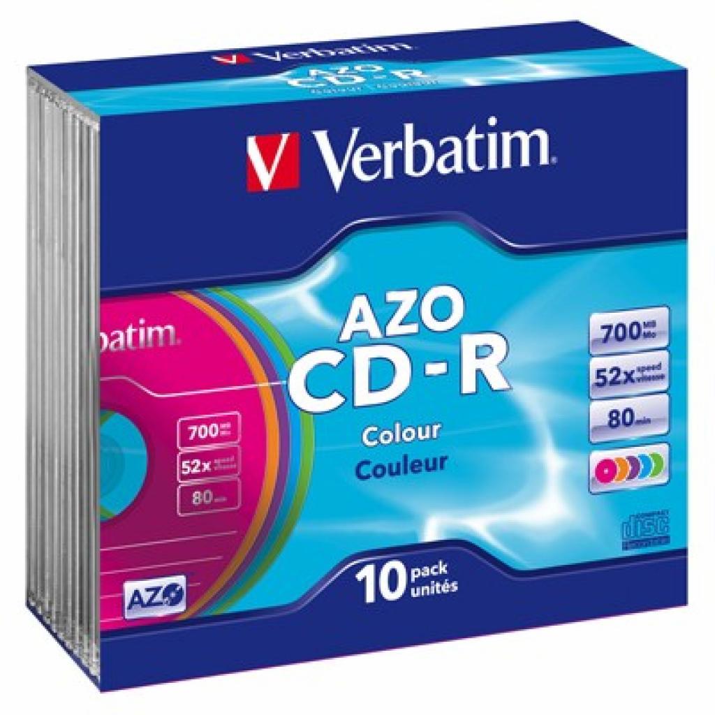 Диск CD Verbatim 700Mb 52x SlimCase 10шт AZO Colour (43308)