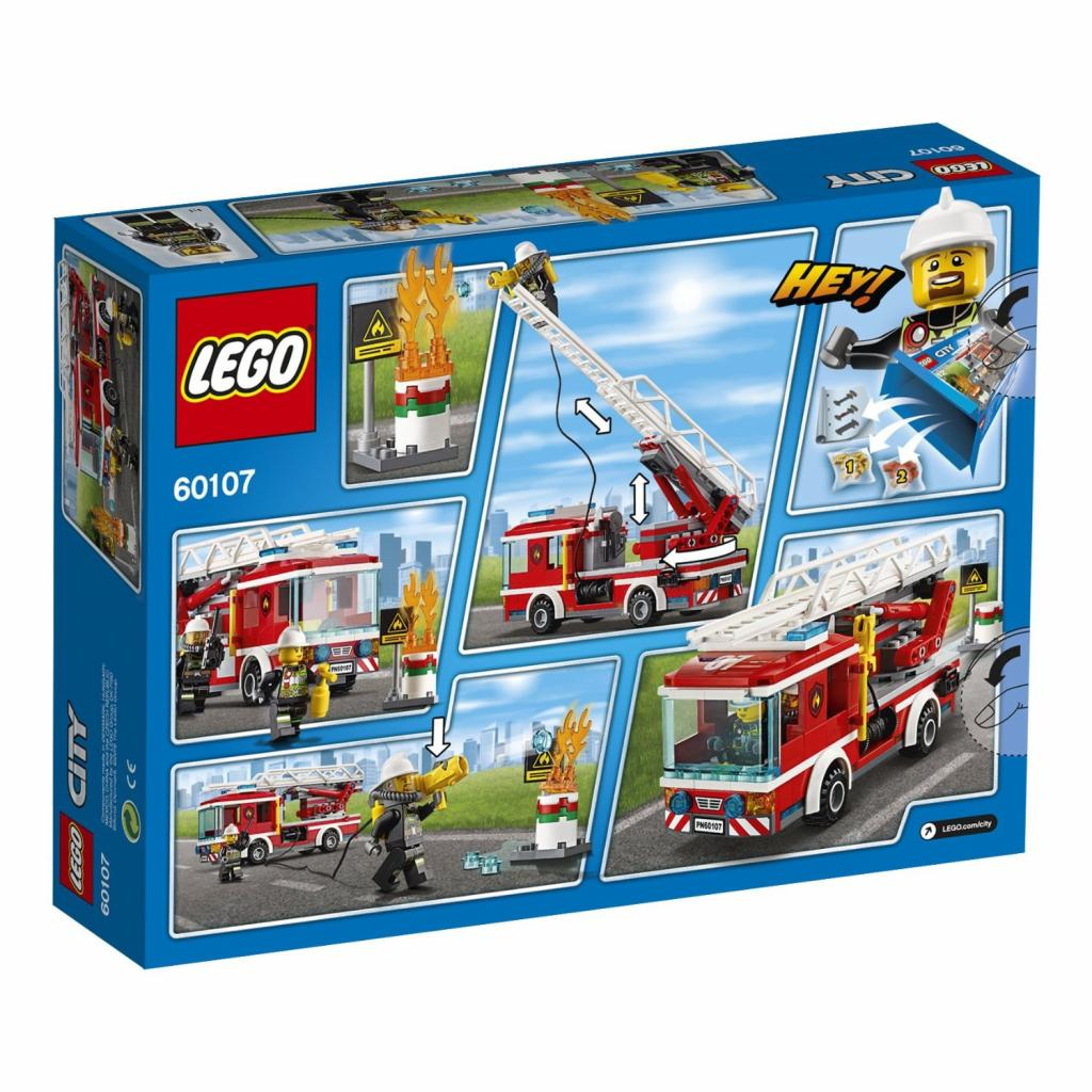 Конструктор LEGO City Fire Пожарный автомобиль с лестницей (60107) изображение 9