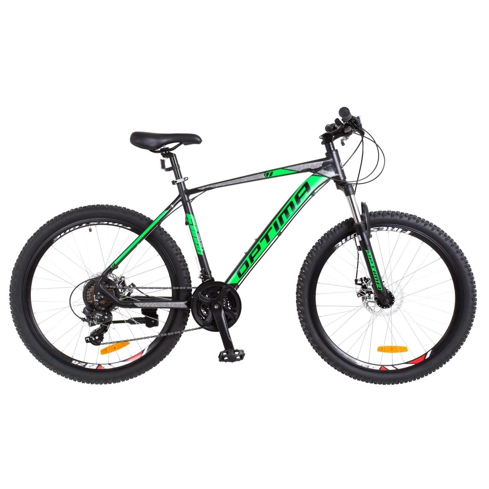 "Велосипед Optimabikes 29"" F-1 2018 AM 14G DD рама-21"" Al черно-зеленый (OPS-OP-29-058)"