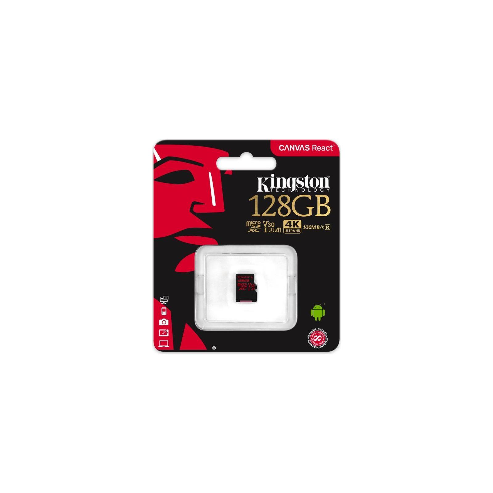 Карта памяти Kingston 128GB microSDXC class 10 UHS-I U3 (SDCR/128GBSP) изображение 3