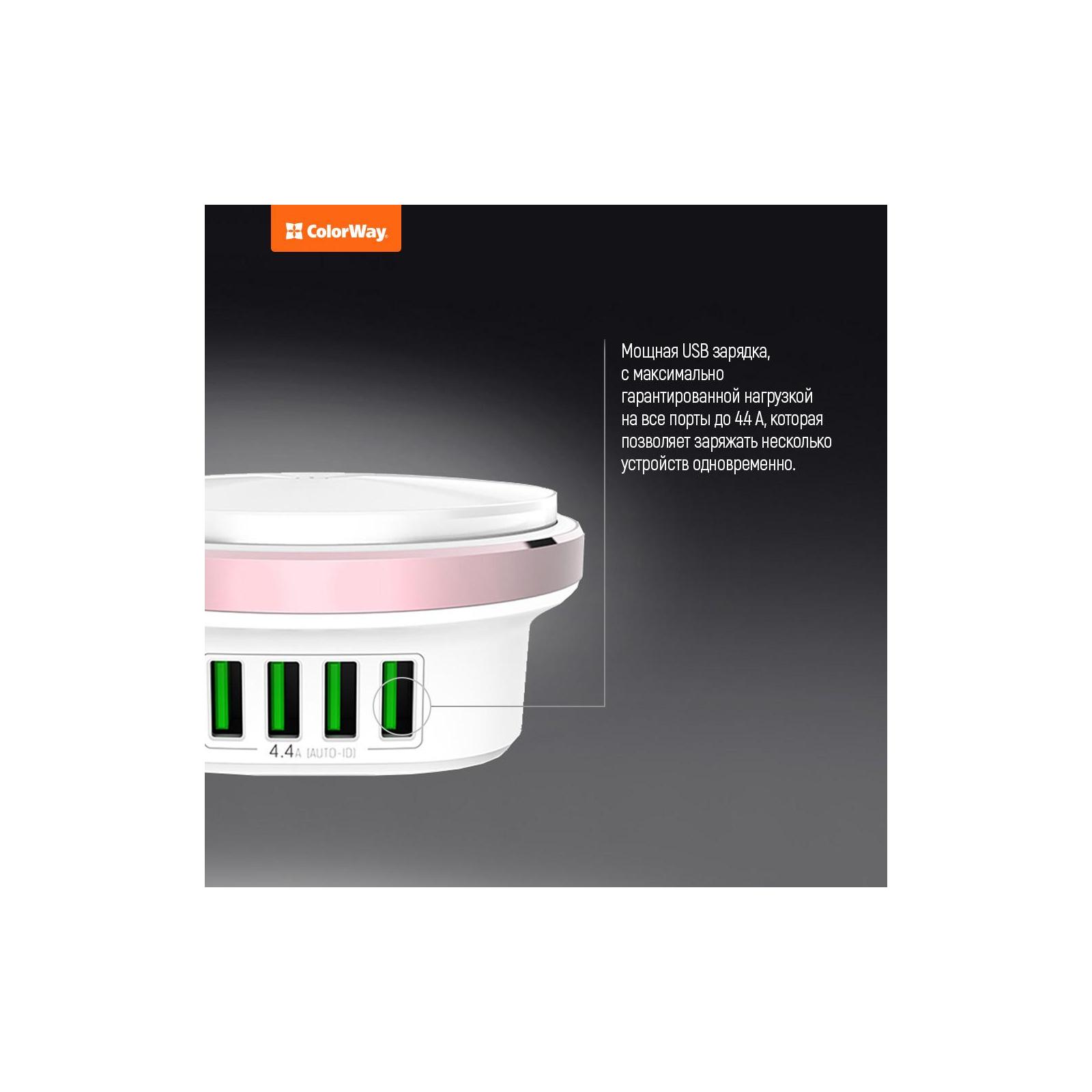 Зарядное устройство ColorWay 4*USB 4.4А + LED лампа 310 Lm (CW-CHL44A) изображение 6