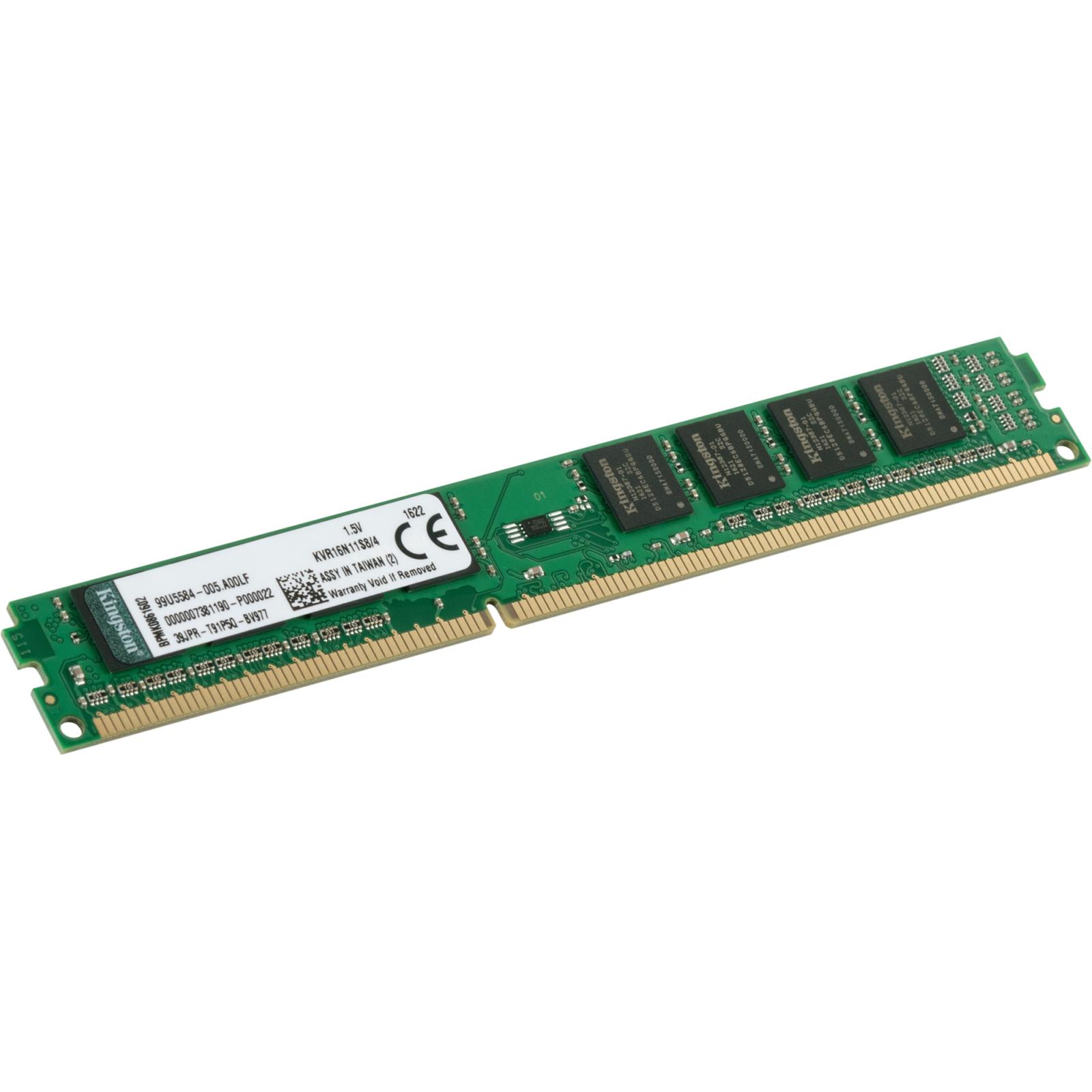 Модуль памяти для компьютера DDR3 4GB 1600 MHz Kingston (KVR16N11S8/4) изображение 2