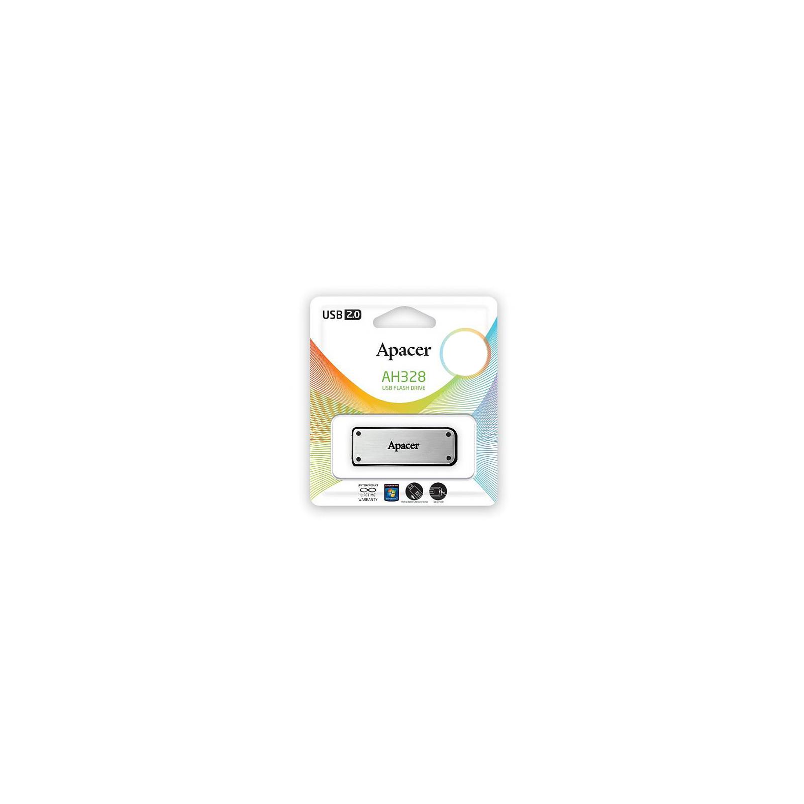 USB флеш накопитель 32GB AH328 Silver RP USB2.0 Apacer (AP32GAH328S-1) изображение 8